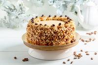 Homemade coffee cake with hazelnuts.