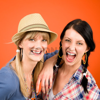 Two woman friends young crazy smile