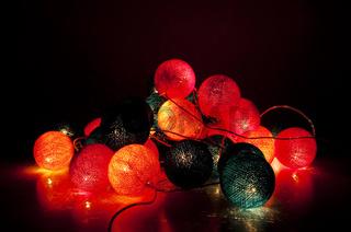 Fabric electric garland in the night