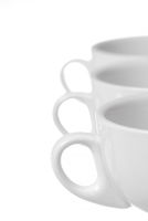 Row of 3 coffee cups. Focus on 1st Cup. Copy Space.