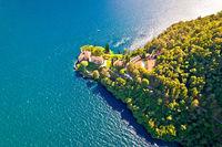 Villa Balbianello on Lake Como aerial view
