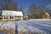 Half-timbered house at Vischering Castle in winter, Luedinghausen, Germany, Europe