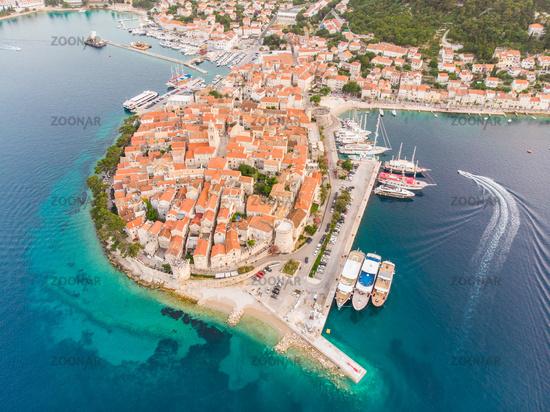 Aerial drone view of Korcula historical old town, Dalmatia, Croatia.
