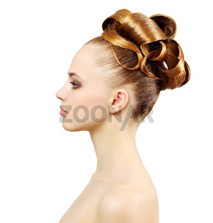 Portrait of a beautiful girl with creative hairstyle
