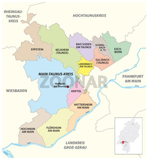 Vector administrative district map Main-Taunus-Kreis, Hesse, Germany