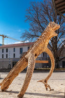 Bad Feilnbach /Germany/ Bavaria-25 April: Dinosaurs made of wood