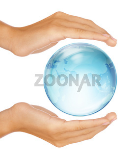 Hands preserving half earth globe isolated on white