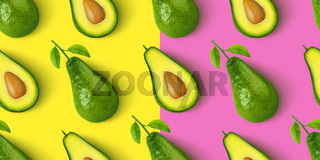 Avocado seamless pattern isolated on color background