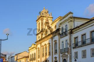 Old and historic church from the 18th century in the central square of the Pelourinho district at sunset