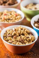 Breakfast cereal. Morning granola in bowl