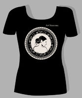 t-shirt design  with  portrait of beautiful girl in art nouveau style