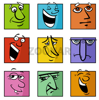 characters or emotions cartoon illustration set