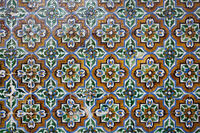 Ceramic tiles with floral and geometric pattern