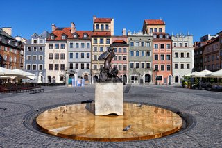 Old Town Market Square of Warsaw in Poland