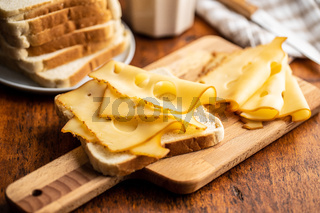 Sandwich bread with hard cheese.