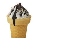 Ice cream. Sweet ice dessert in a waffle cone poured with chocolate on a white background.Beautiful dessert.