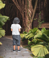 Boy walking in a tropical garden