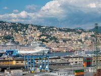 Genoa, Italy - 06 06 2021: Panoramic view of the Port of Genoa, Italy.