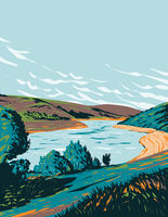 Meldon Reservoir near Okehampton on Dartmoor National Park Devon England United Kingdom UK Art Deco WPA Poster Art
