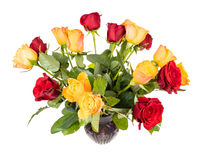 fresh red and yellow rose flowers in vase isolated