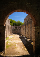 Panoramic view to ruins of The Basilica in Butrint ancient town , Sarande, Albania