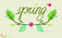 Spring poster with lettering in a colorful palette. Vector childish illustration in hand-drawn Scandinavian style.