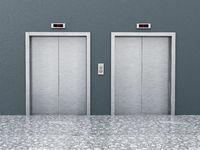 Front view of elevator doors on the corridor. 3D illustration