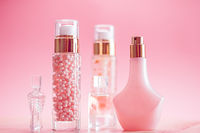 Skincare, perfume and make-up set on pink background, luxury beauty and cosmetic products