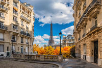 Paris France, city skyline at Eiffel Tower and old building architecture with autumn foliage season
