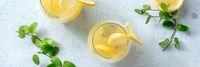 Lemonade panorama. Homemade fresh lemon drink panoramic banner