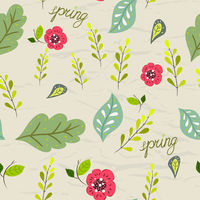Seamless pastel pattern with floral elements on crumpled paper background. Vector illustration.