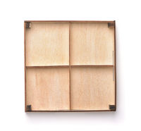 Empty wooden four compartments packaging tray