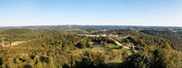 Aerial panorama into the suburbs of Morgantown in West Virginia from Dorseys Knob