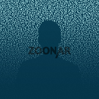 Abstract starry background with person silhouette