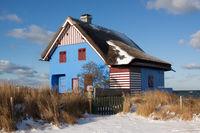Blue house in Heiligenhafen. Germany