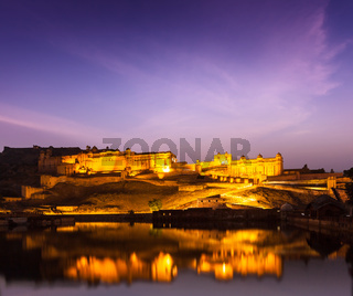 Amer Fort (Amber Fort) illuminated at night - one of principal attractions in Jaipur