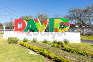Panama David, welcome sign at the entrance to the city