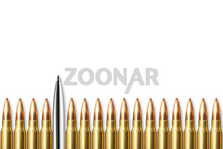 Pen and bullets round isolated on white background with Copy space.