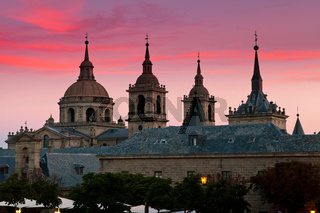 San Lorenzo de El Escorial Monastery , Spain at Dusk