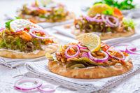 Greek gyros meat with pita flat bread