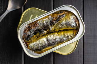 Canned sardines. Sea fish in tin can.