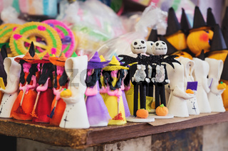 Halloween sugar figurines used for offerings at the altar for 'day of the dead' at a market in Merida, Mexico