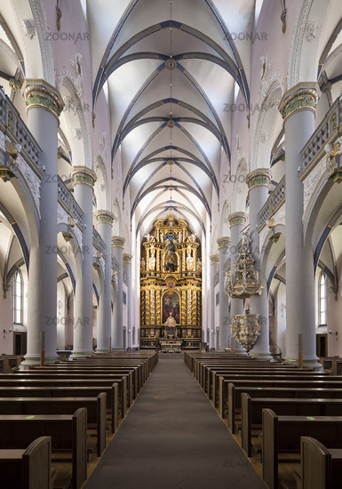 Market church, interior shot towards the baroque altar, Paderborn, Germany, Europe