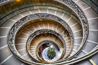 Bramante double helix staircase in Vatican Museums. Rome Italy