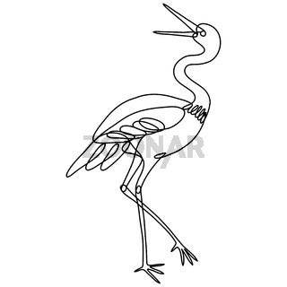Crane Side View Continuous Line Drawing