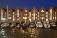 Husum harbor, tidal port at low tide in the evening, inland port, city port, Husum, Germany, Europe