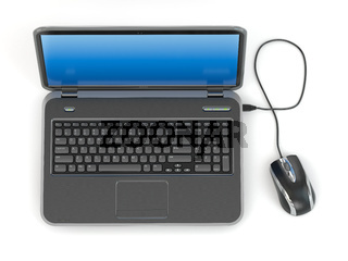 Laptop and computer mouse
