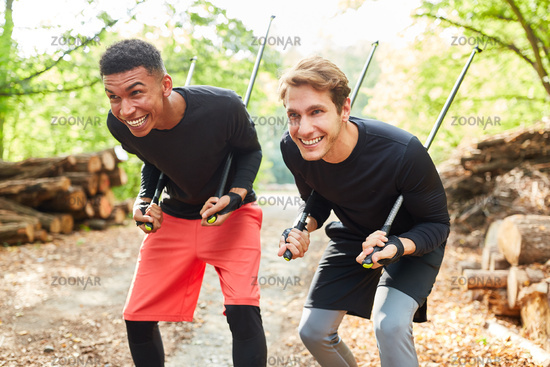 Young men get into mischief with walking sticks