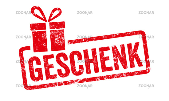 Red stamp with gift icon  - Gift in german - Geschenk