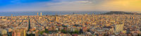 Barcelona Spain, high angle view sunset panorama city skyline view from Bunkers del Carmel